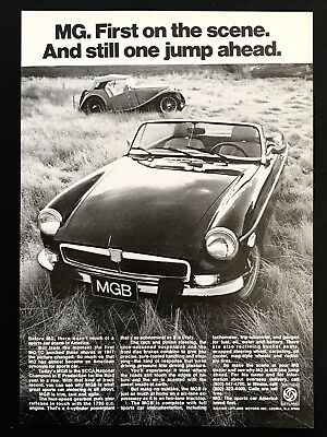 1974 Vintage Print Ad MGB Black Convertible Parker In Field 70's Sports Car