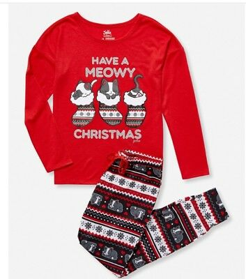 New Justice Christmas pajamas set,2pc, red, kittens in stockings, size 8