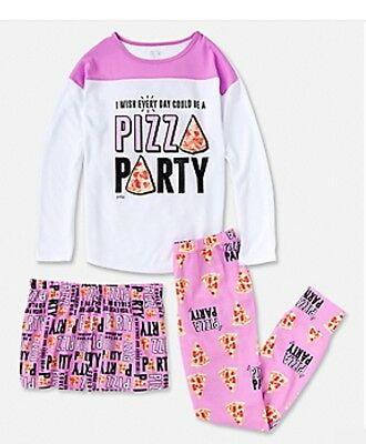 New Justice girl's very cute 3 piece pizza pajamas set,  size 10