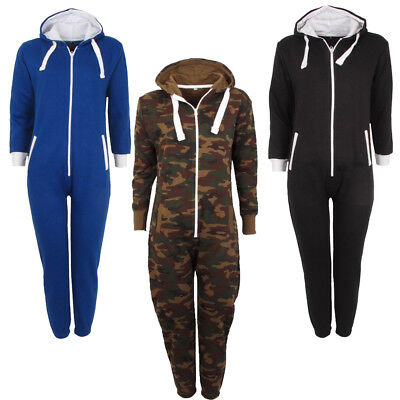 Girls Camouflage Army  Kids Hooded Tracksuit Jumpsuit Nightwear Size Age 7-14