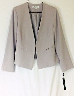 Tahari ASL NWT Womens Size 16 Larry Style Gray Woven Fitted Collarless  Jacket
