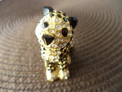 RARE 1994 24K GP HEAVY 80g SIGNED CRYSTAL EMBELLISHED CAT FIGURINE MINIATURE