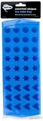 (1, Blue) - Chef Aid Assorted Shape Ice Cube Tray, Blue. Shipping Included