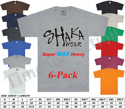 Shakawear Shaka Wear Super Max Heavy Weight 6-Pack Blank T-Shirt Reglar or Tall