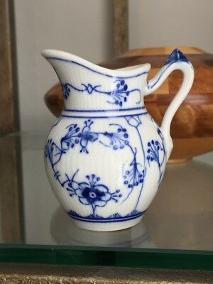 18-90l:  Antique Blue White China Pitcher Creamer marked Fluted Denmark France
