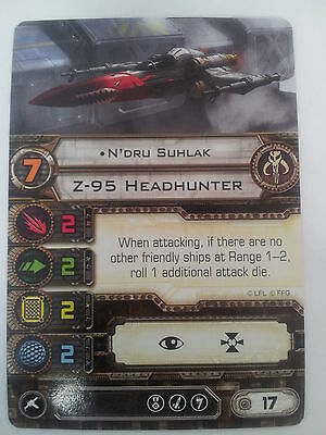 "Star Wars X Wing Miniatures Game Mercenary ""N'dru Suhlak"" Z-95 Headhunter Card"