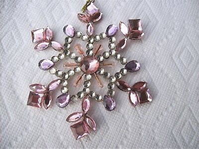 Jeweled Wired Snowflake Christmas Ornaments  Lot of 8 Beauties Pretty in Pink