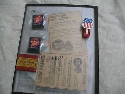 Vintage Lot of Railroad Material, Postcards, Time Tables, Missouri Map, Etc