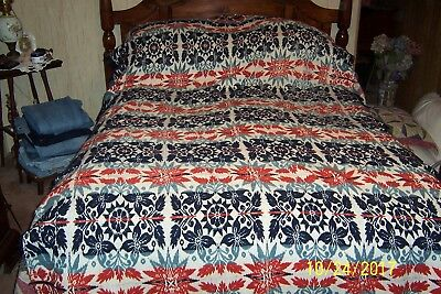 Dated 1834 JACOB SHALK Lebanon, PA. N STAUFAR Jacquard Reversible COVERLET 60x94