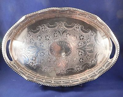 Vintage Art Nouveau Gallery Serving Tray Silver Plate On Copper Chased