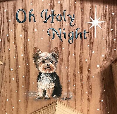 Hand Painted Art Yorkshire Terrier YORKIE dog Christmas Wooden Star