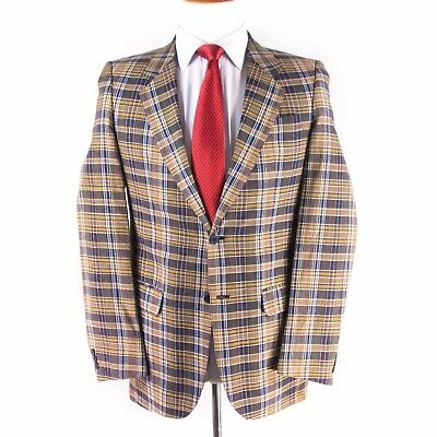 A.S. Cooper Mens Vintage Cotton Autumn Plaid Jacket Coat Half-Lined Madras
