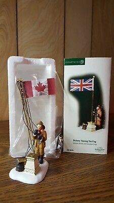 "Dept 56 Dickens Village""RAISING THE FLAG"" British and Canadian Rare Mint"