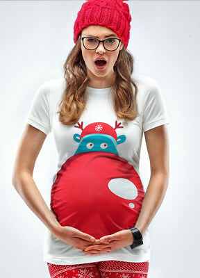 NEW - Mamagama - Rudolph's Nose Christmas Maternity Pregnancy Tee