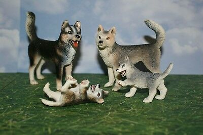Husky Adult Male, Female and Two Puppies by Schleich Animal Figure Set of 4