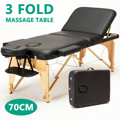Portable 3 Fold Wooden Massage Therapy Table Beauty Waxing Bed Chair SP