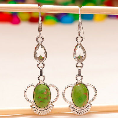 """Green Copper Turquoise Gemstone 925 Silver Jewelry Earring 2.5"""""""