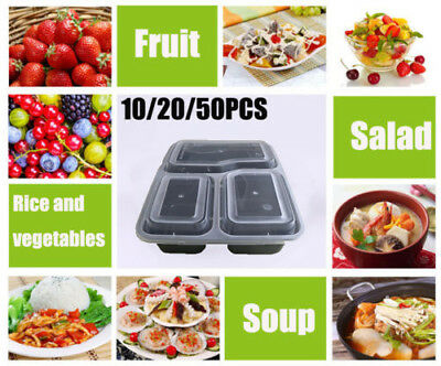 10-50x 1000ml Reusable Meal Prep Containers Plastic Lunch Boxes Set Food Storage