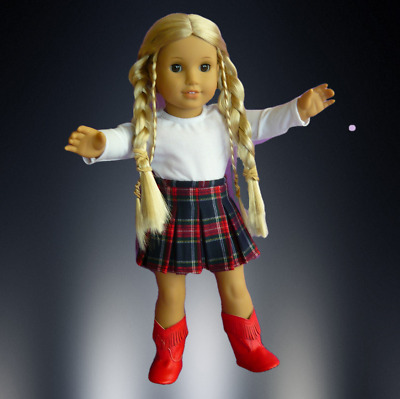 """AMERICAN GIRL DOLL CLOTHES SKIRT, LONG SLEEVED TEE & BOOTS to fit 18"""" A.G. DOLL"""