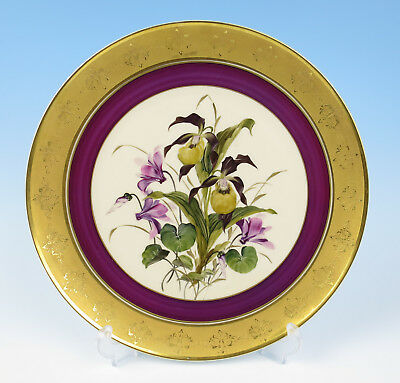 Vintage Hutschenreuther Large Hand Painted ORCHIDS Gold Encrusted Charger Tray
