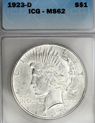 1923-D MS62 Peace Silver Dollar $1 graded by ICG, Bright White!