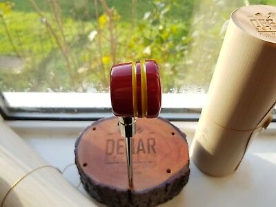 Debar wooden drum beater Hand made Model: Chakra, Red with yellow stripes