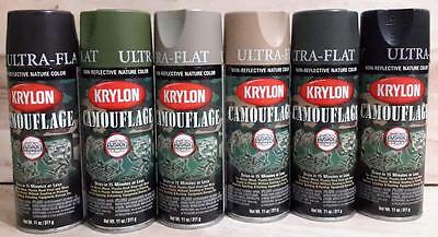 Krylon Fusion Plastic Paint CAMOUFLAGE ULTRA FLAT 6 PACK