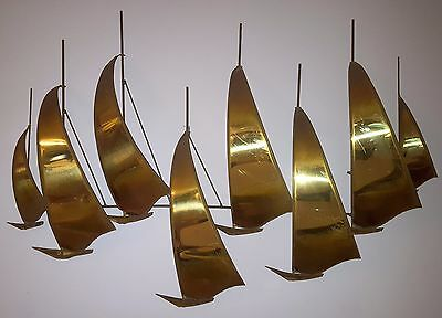 Jere Era Sailboat Huge Wall Hanging Mid-Century Brutalist Metal Art Jerry Demott