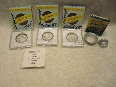 Lot of  3 Vintage Ednalite Filters - Series 5 Gold Closeup  +1 +,2, +3 + adapter
