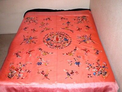 Incredible Old Chinese Peach Silk Large Quilt w/Embroidered Bats Peony Sword ect