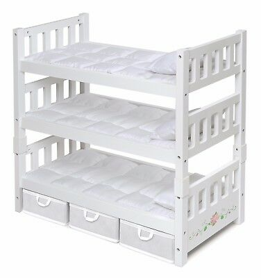 Doll Bunk Bed 3 American Girl Dolls Furniture White Bedding Pad