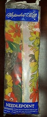 Vintage Alexandra Hill Needlepoint Kit Unopened Jungle Floral Jaguar Wool 14x14