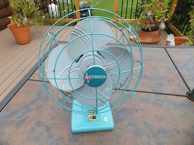 Vintage Aqua Blue DOMINION Oscillating Fan - Advertised in LIFE & On NBC - Works