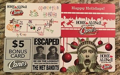 Raising Canes 2017 gift card set of 4! Home Alone 2 Christmas collectible!