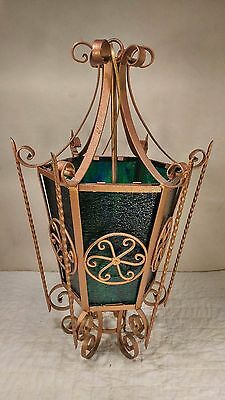 Vintage Gothic Spanish Iron & Stained Glass Hanging Chandelier Light Fixture BIG