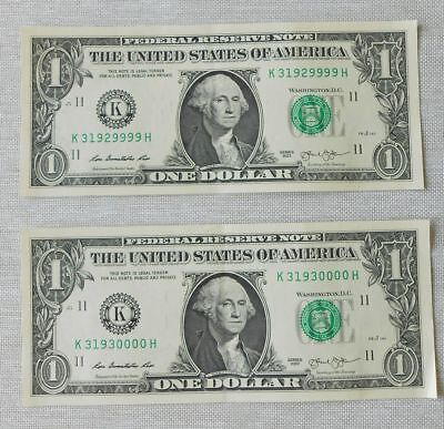 Two Consecutive One Dollar Bills 10000 Spot Roll Over 2013 Consecutive Currency