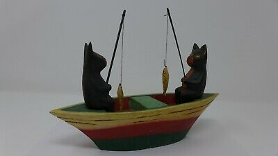Indonesian / Balinese Handcrafted Wooden Black Cat Fishing Boat