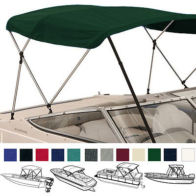 "Bimini Top Boat Pontoon Green 4 Bow 96""l 54""h 73""-78""w - W/ Boot & Rear Poles"