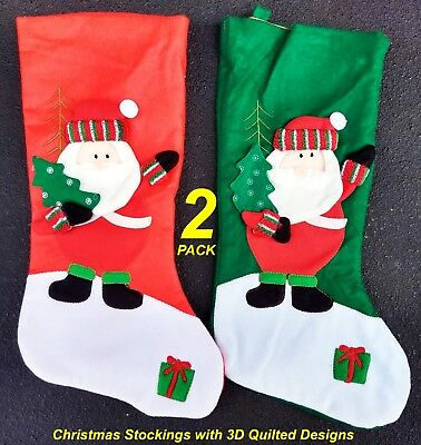 2 Pack x Deluxe Quality Christmas Stockings with 3D Puffed Designs