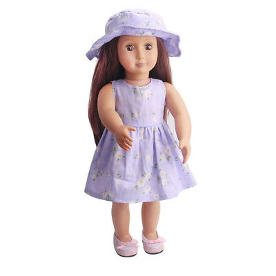Dolls Clothes Floral Dress w/ Hat Set Outfit for 18inch American Girl Doll