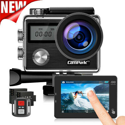 Campark 4K 20MP Action Camera Touch Screen Waterproof Camera Remote Control+32GB