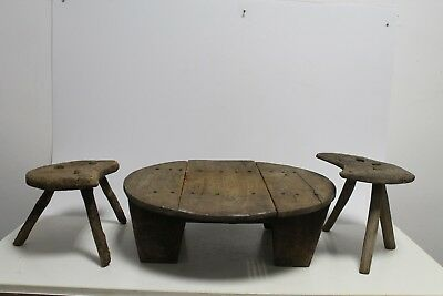 Antique Primitive Old Ottoman Turkish Interesting Model Low Round Dinning Table.