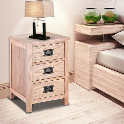 Oak Bedside Table Light Oak Bedside Cabinet Solid Wood 3 Drawers Brand New