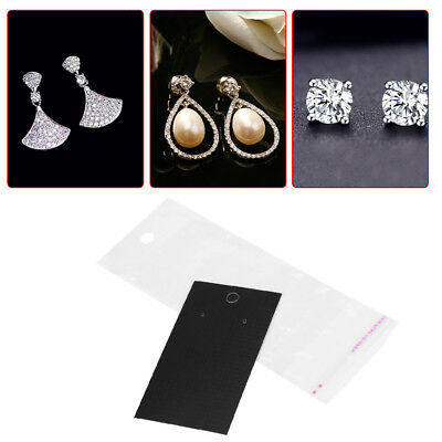 100pcs/set  5 * 9 cm Black Earring Storage Display Cards With Self Adhesive Bags