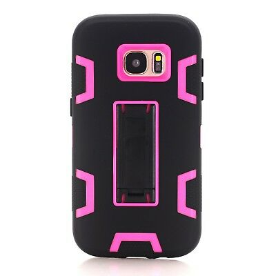 (Black hot pink) - Galaxy S7 Case, SAVYOU [Kickstand Feature] High Impact