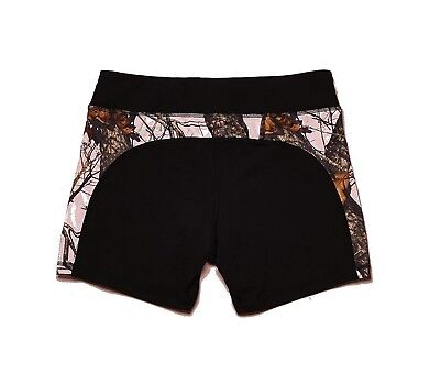 Wilderness Dreams Active Wear Shorts Black with Mossy Oak Pink Size Large 610035