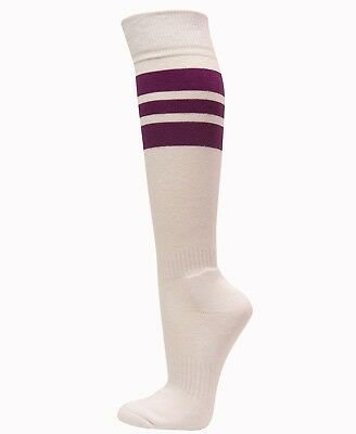 (Purple) - Couver Strip on White Knee High Sports/Softball Socks. Brand New