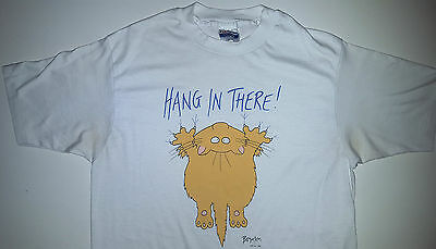 SANDRA BOYNTON CAT T-SHIRT HANG IN THERE VINTAGE 1980s ADULT SIZE LARGE