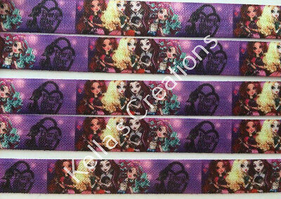 """Ever After High Fold Over Elastic Foe 5/8"""" sold by 2 M - craft - hair bow"""