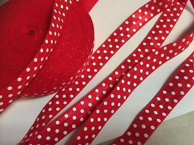 """Red & white dots (FOE) Fold over elastic 5/8"""" sold by 2 M"""